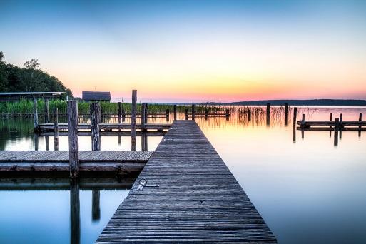 boat docks at sunset